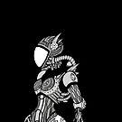 Cyborg girl - On black by WheelOfFortune