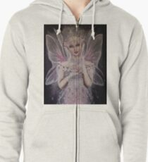 Gossamer wings white pink fairy faerie fantasy  Zipped Hoodie
