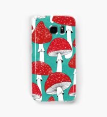 Red mushrooms on turquoise blue Samsung Galaxy Case/Skin