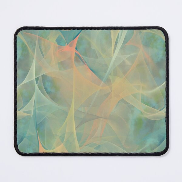Opalized Plasma ~ Green and Peach Abstract Fractal Art Mouse Pad