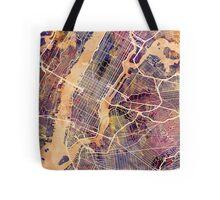 New York City Street Map Tote Bag