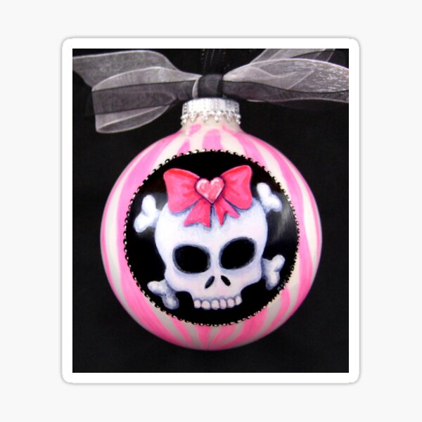 Pink Candy Stripe Skull with Bow Sticker