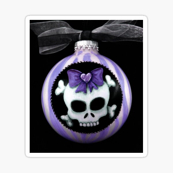 Purple Candy Stripe Skull with Bow Sticker