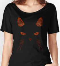 Fiery Cat Face T Shirt Women's Relaxed Fit T-Shirt