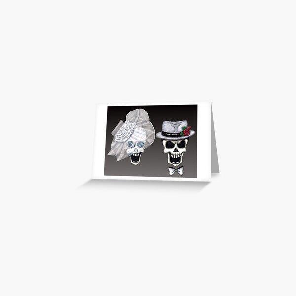 Black Ombre Skull Bride & Groom Greeting Card