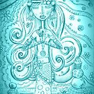 Sky blue Yoga Gypsy Sketch – Whimsical Folk Art Girl in Namaste Pose by erica lubee  ~ SkyBlueWithDaisies
