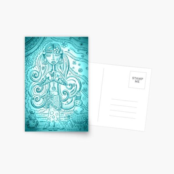 Sky blue Yoga Gypsy Sketch – Whimsical Folk Art Girl in Namaste Pose Postcard