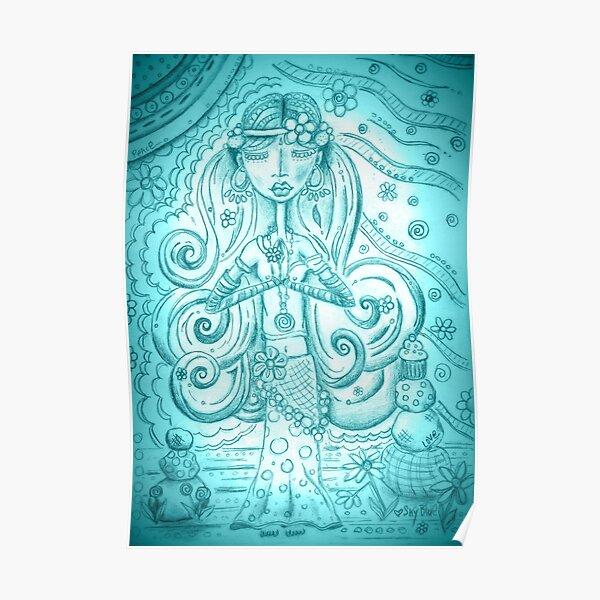 Sky blue Yoga Gypsy Sketch – Whimsical Folk Art Girl in Namaste Pose Poster