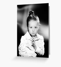 Emotional portrait of cute little girl in vintage style Greeting Card