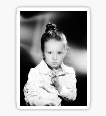 Emotional portrait of cute little girl in vintage style Sticker