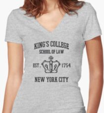 king's college Women's Fitted V-Neck T-Shirt