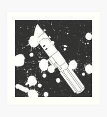 Darth Vader Lightsaber Paint Splatter (Black and White) Art Print