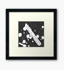 Darth Vader Lightsaber Paint Splatter (Black and White) Framed Print