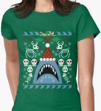 Santa Jaws Ugly Sweater Women's Fitted T-Shirt