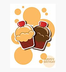 Cup cake happy birthday card with bubbles Photographic Print