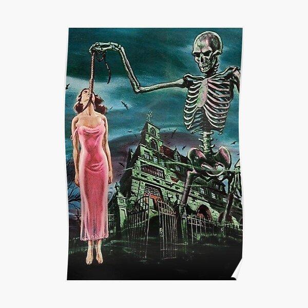 GIRL SAVED SKELETON HORROR COMIC RETRO VINTAGE POP Poster