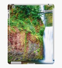 Bridge over waterfall full with green leaves and water pool iPad Case/Skin