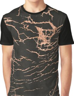Black & Rose-Gold Marble Graphic T-Shirt