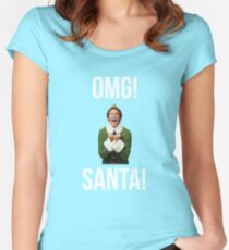 OMG SANTA! Funny Elf Christmas  Women's Fitted Scoop T-Shirt