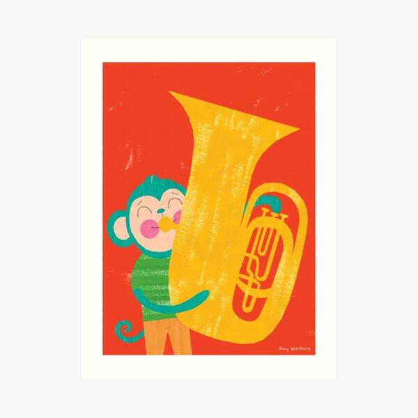 Animal Band - Tuba Monkey Art Print