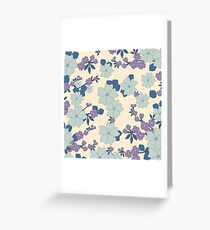 vintage,retro,floral pattern,shabby chic,pattern,country chic,roses,flowers,turqouise background,purple,white,modern,trendy,girly,mint, Greeting Card