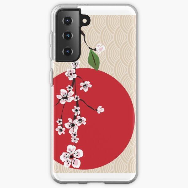 Japanese card with cherry blossom, sakura and traditional Japanese elements Samsung Galaxy Soft Case