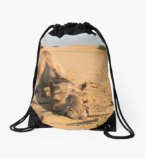 Poor Tired Camel Drawstring Bag