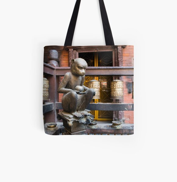 Monkey in a Buddhist temple All Over Print Tote Bag