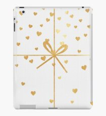 christmas,gold,ribbon,hearts,modern,trendy,tiny dots, white,cute iPad Case/Skin