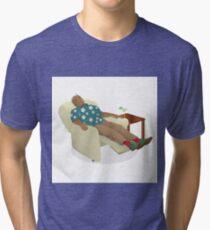 Black man wearing hawiian shirt Tri-blend T-Shirt