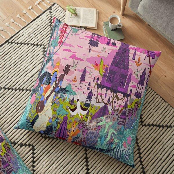 THE VILLAGE CULTURE POPOLATION POSTER Floor Pillow