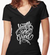 Hustle & grind Women's Fitted V-Neck T-Shirt
