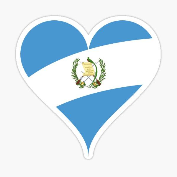 Corazón de la bandera de Guatemala Pegatina