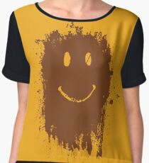 smiley mud face chiffon top