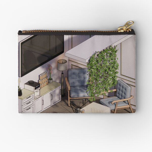Pencil Art Of  American Style Coffee Booth Zipper Pouch