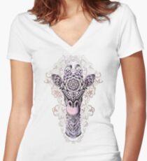 Camiseta entallada de cuello en V Jirafa