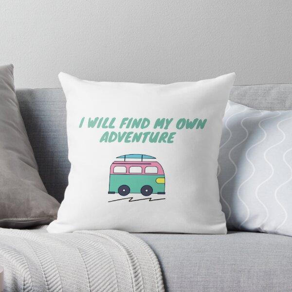 Reise-Abenteuer-Lifestyle, Van Life-Zitat und Illustration Dekokissen