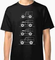 Evolution of Land Rover line art for dark colours Classic T-Shirt