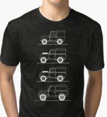 Evolution of Land Rover line art for dark colours Tri-blend T-Shirt