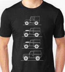 Evolution of Land Rover line art for dark colours T-Shirt
