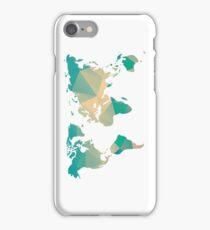 World map in geometric triangle pattern design iPhone Case/Skin