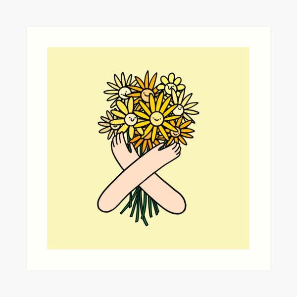 Happy daisy flower bouquet Art Print
