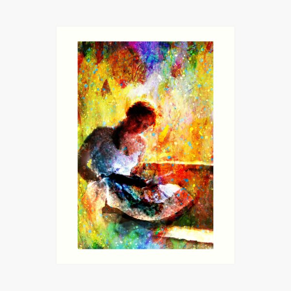 Girl with book by window bathed in morning light Art Print