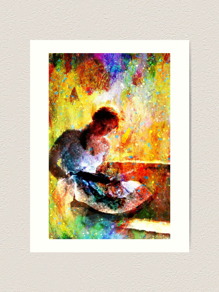 Alternate view of Girl with book by window bathed in morning light Art Print