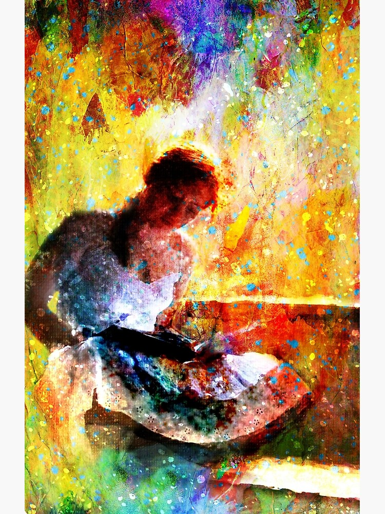 Girl with book by window bathed in morning light by Mackill