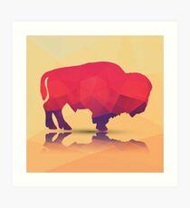 Geometric polygonal buffalo, pattern design Art Print