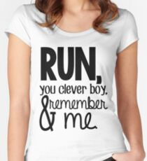 """""""Run, you clever boy, and remember me."""" - Clara Quote Women's Fitted Scoop T-Shirt"""