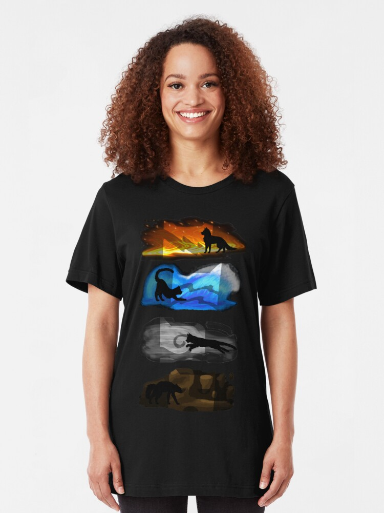 Vista alternativa de Camiseta ajustada Gatos guerreros: cuatro elementos, cuatro clanes