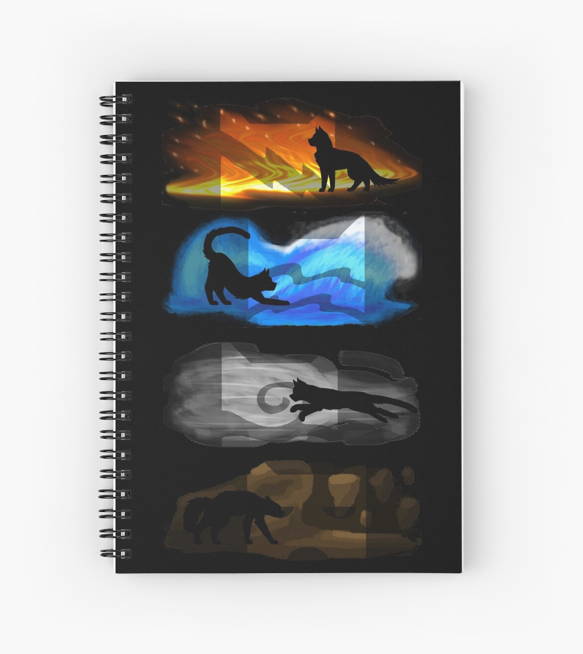 """""""Warrior Cats: Four Elements, Four Clans"""" Spiral Notebooks"""