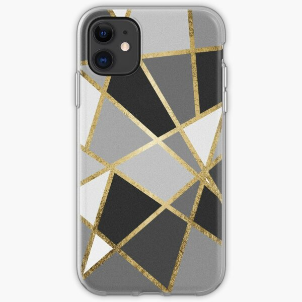 Black & Gray Modern Geo Gold Triangles iPhone Soft Case